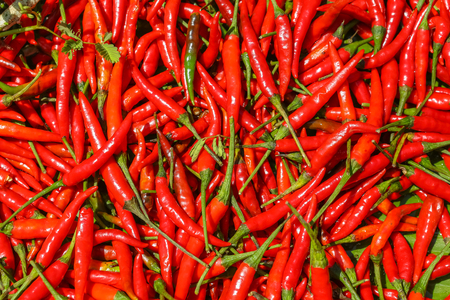 Red hot chili peppers, closeup view and texture