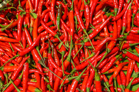 Red hot chili peppers, closeup view and texture Banco de Imagens - 40952506