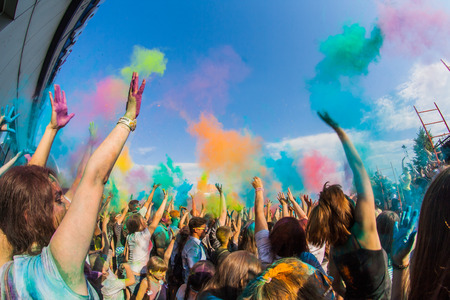 Many youn people on the festival of colors Holi in Russia, Novokuznetsk