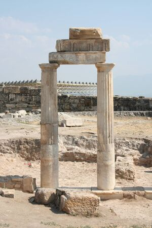 hierapolis: Column of gimnazion in the ruined ancient city Hierapolis