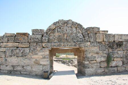 hierapolis: Ancient ruins in Hierapolis, Pamukkale, Turkey. UNESCO World Heritage