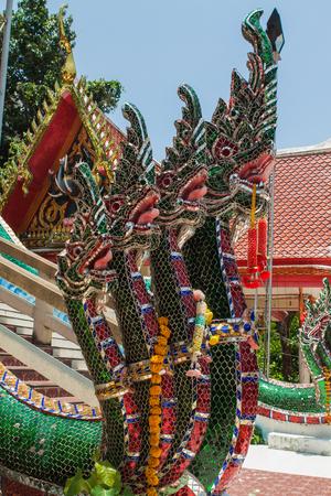 budda: Thai traditional dragons statue near the big Budda in Samui. Stock Photo