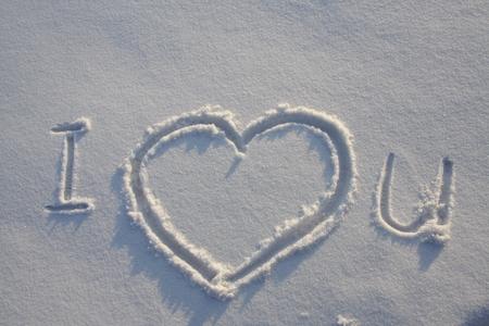 snow ground: Message I love you on snow ground