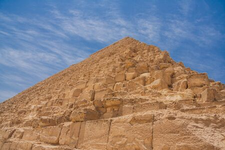 Ancient pyramids of Giza in a desert of Egypt. Stock Photo