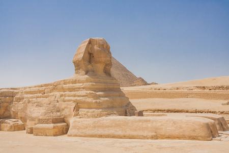 esfinge: Esfinge y la pir�mide en Giza - El Cairo, Egipto