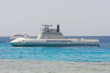 profundity: Sharm-El-Sheykh, Egypt - June 03, 2010 :: Touristic aquascope submarine in Red sea, Egypt. Editorial