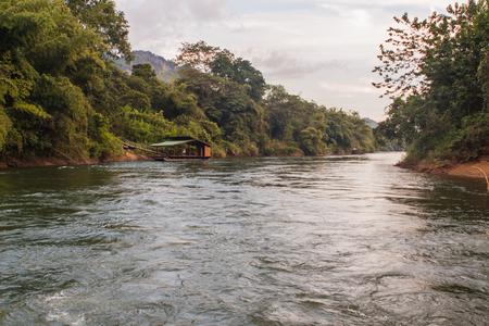 kanchanaburi: Raft on the river Kwai, Kanchanaburi, Thailand