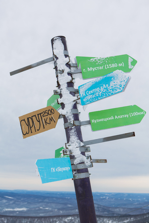 globetrotter: Crossroad sign in mountains pointing to cities and other mountains.