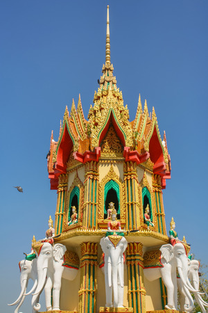 Budhist temple in with elephants in Thailand Stok Fotoğraf