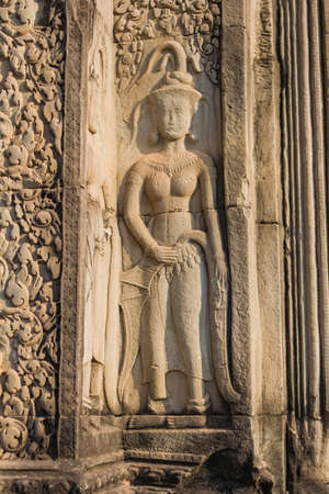 apsara: Apsara dancer stone carving at Angkor Wat temple, Siem Reap, Cambodia Stock Photo