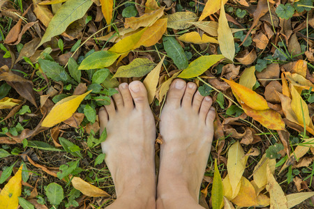 Two womans bare feet stepping on dry yellow leaves.