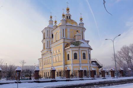 boldino: Russian church at sunset in winter season Stock Photo