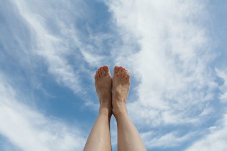 Feet up infront of the sky