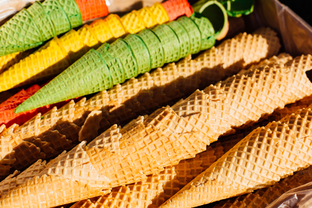 Waffle cones for ice cream background Stock Photo