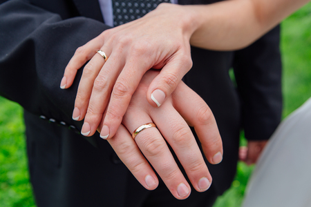 Hands of a man and a woman with wedding rings