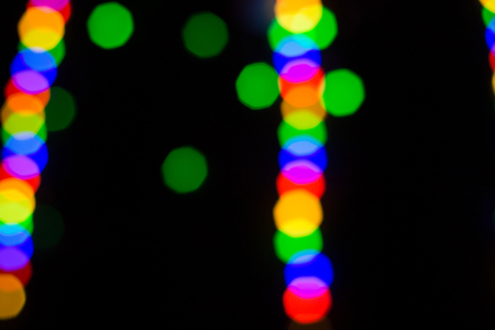 Colorful abstract blured bokeh at night time