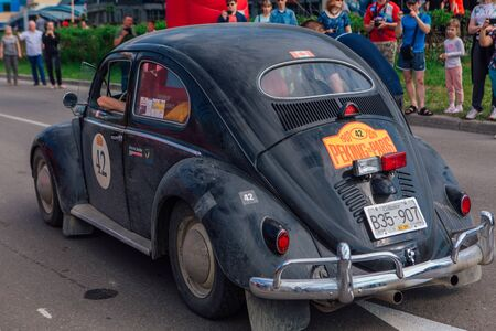 Novokuznetsk, Russia-June, 14 2019: The 7th Peking to Paris Motor Challenge is unique in the motoring world a true endurance motor rally following in the wheel-tracks of the original pioneers of 1907 Redakční