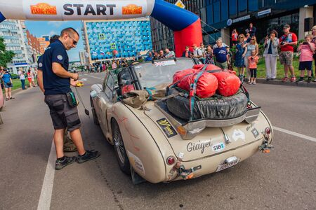 Novokuznetsk, Russia-June, 14 2019: The 7th Peking to Paris Motor Challenge is unique in the motoring world a true endurance motor rally following in the wheel-tracks of the original pioneers of 1907 Editoriali