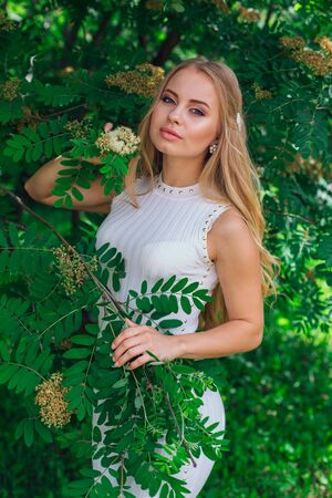 Spring portrait of a charming blond woman wearing beautiful white dress standing next to blooming rowan tree. 스톡 콘텐츠