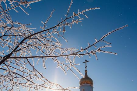 Birch branches covered with white snow and ice on the background of a blue sky and church.