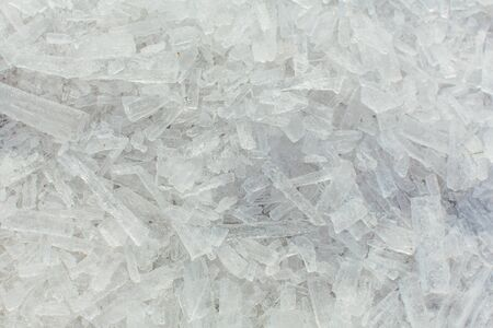 Amazing abstract broken ice crystals texture. Clear melting ice background. Copy space.
