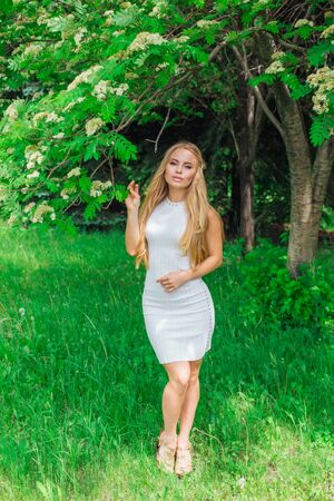 Spring portrait of a charming blond woman wearing beautiful white dress standing next to blooming rowan tree with white flowers. Banque d'images - 140908735