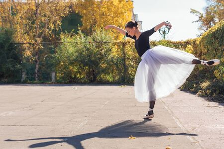 Woman ballerina in a white ballet skirt dancing in pointe shoes in a golden autumn park. Ballerina standing in beautiful ballet pose Stock Photo