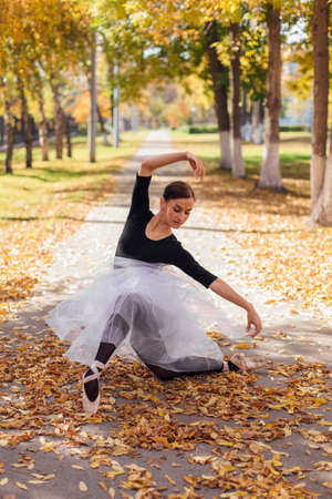 Woman ballerina in a white ballet skirt dancing in pointe shoes in a golden autumn park on dry yellow leaves.