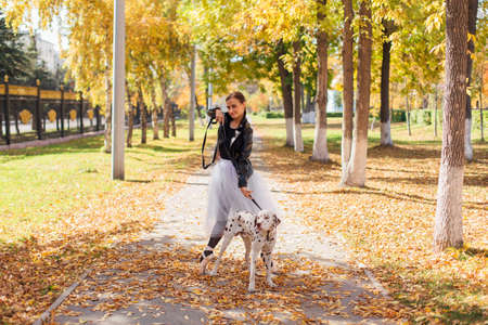 Ballerina with Dalmatian dog in the Park. Woman ballerina in a white ballet skirt and black leather jacket dancing in pointe shoes in autumn park with her spotty dalmatian dog. Фото со стока