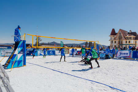 Sheregesh, Russian Federation - April 02, 2021: Final tournament of the Russian snow volleyball championship. Teams compete in 3x3 format with one allowed substitute Publikacyjne