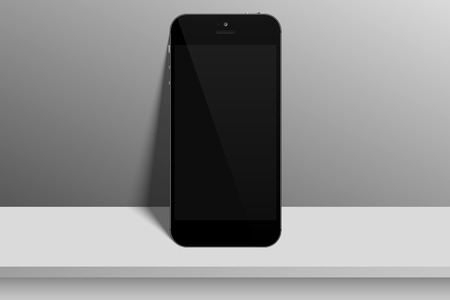 Realistic black smartphone with blank screen on light background .