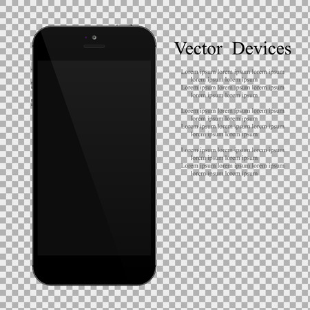 Realistic black smartphone with blank screen on isolated background .