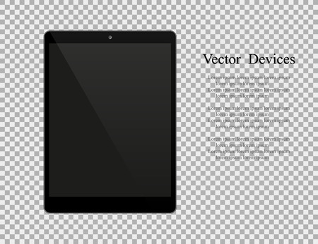 Realistic black tablet with blank screen isolated on white background.