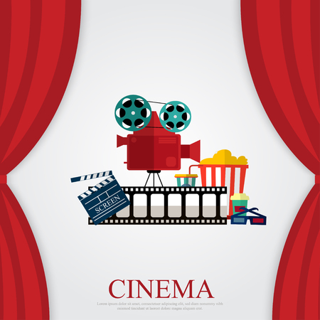 stage costume: Reds curtains and film object with popcorn, soda and eyeglasses Illustration