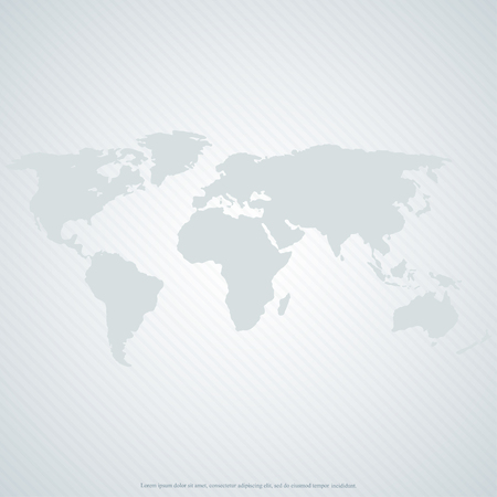 Gray world map on gray background