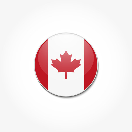 Canadian flag in a circle on a gray background
