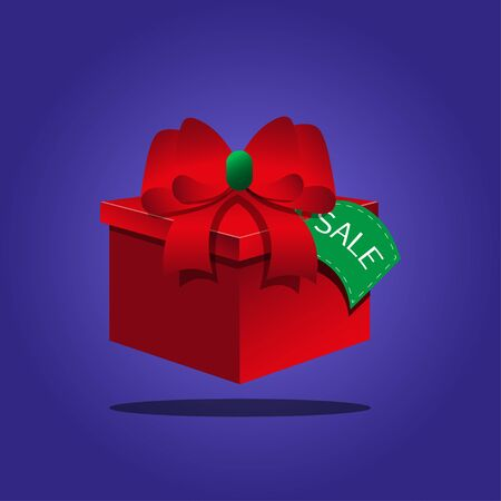 red gift box: Red gift box on a blue background Illustration