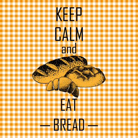 country kitchen: Orange tablecloths patterns on the background with the words , keep calm and eat bread