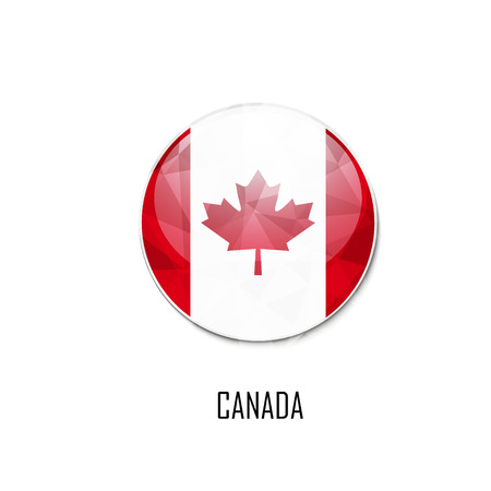 quebec: Canadian flag in a circle on white background