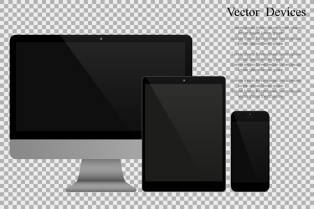 Set of realistic computer monitors, tablets and mobile phones. Electronic gadgets on isolated background