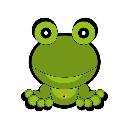 Green frog.  icon. Flat style, white background