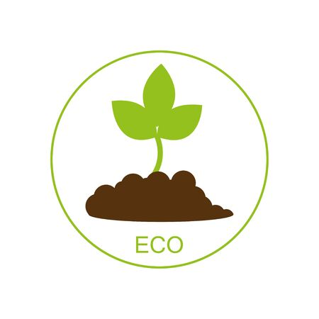 New born growing plant - ecological concept. icon