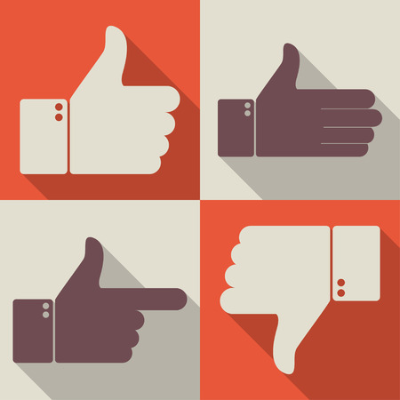 Thumbs up like dislike icons for social network web app like. Symbol hand with thumb up