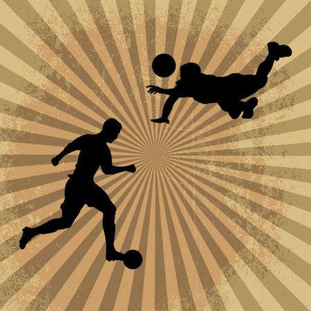 kick out: Soccer Silhouette Player and handball silhouette player Illustration