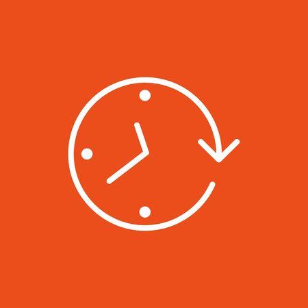 Uhrpfeil auf dem orangefarbenen Hintergrund