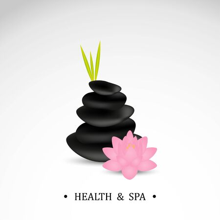 Spa stones with lotus flower. Illustration