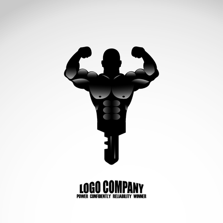 defined: Bodybuilder Fitness Model Illustration. logo company
