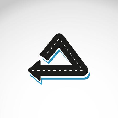 warning indicator: Turn back road sign with markings , vector illustration