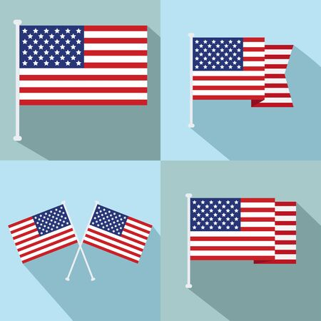 Flag of USA. Set of flags of America in various shapes.