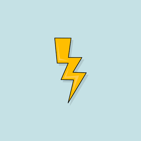 Yellow Electric Lightning Bolt with shading effects on blue background Illustration